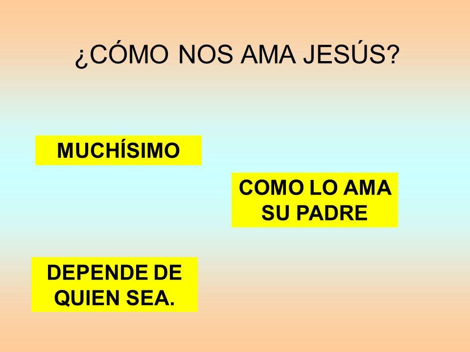¿CÓMO NOS AMA JESÚS? MUCHÍSIMO DEPENDE DE QUIEN SEA. COMO LO AMA SU PADRE