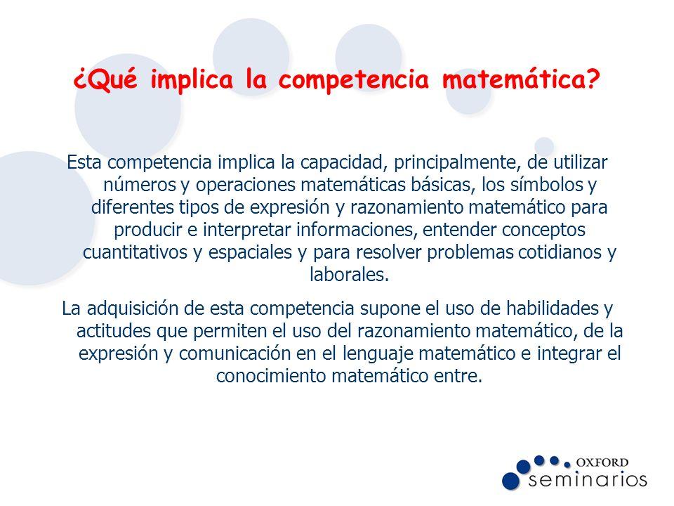 ¿Qué implica la competencia matemática? Esta competencia implica la capacidad, principalmente, de utilizar números y operaciones matemáticas básicas,
