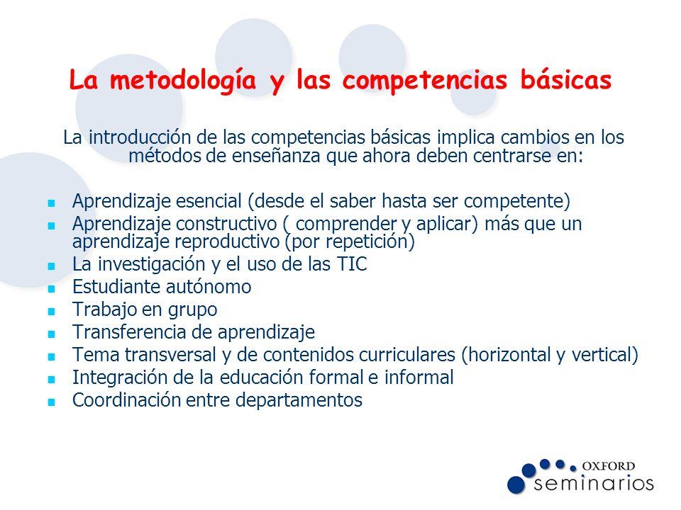 La metodología y las competencias básicas La introducción de las competencias básicas implica cambios en los métodos de enseñanza que ahora deben cent