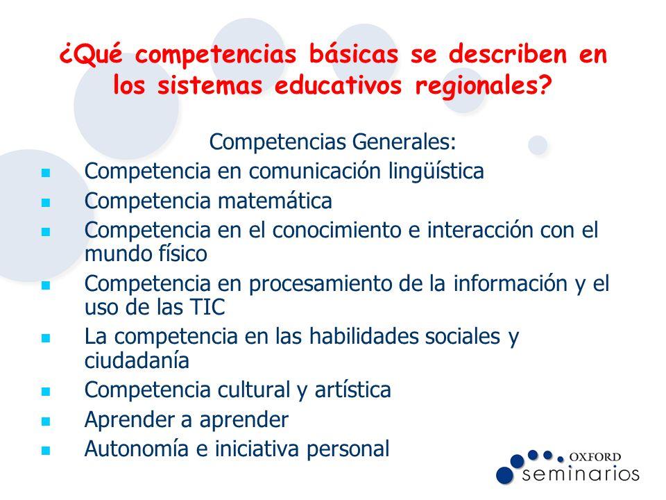 ¿Qué competencias básicas se describen en los sistemas educativos regionales? Competencias Generales: Competencia en comunicación lingüística Competen