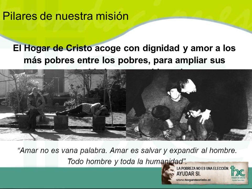 El Hogar de Cristo acoge con dignidad y amor a los más pobres entre los pobres, para ampliar sus oportunidades a una vida mejor.