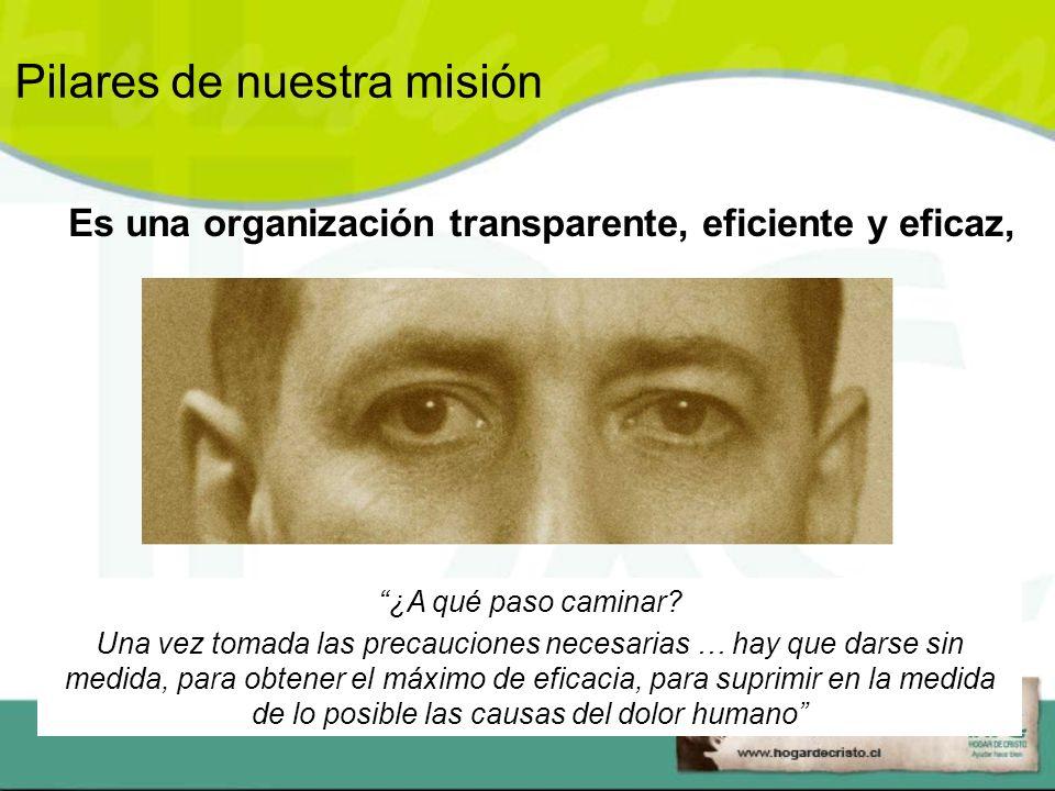 Es una organización transparente, eficiente y eficaz, ¿A qué paso caminar.