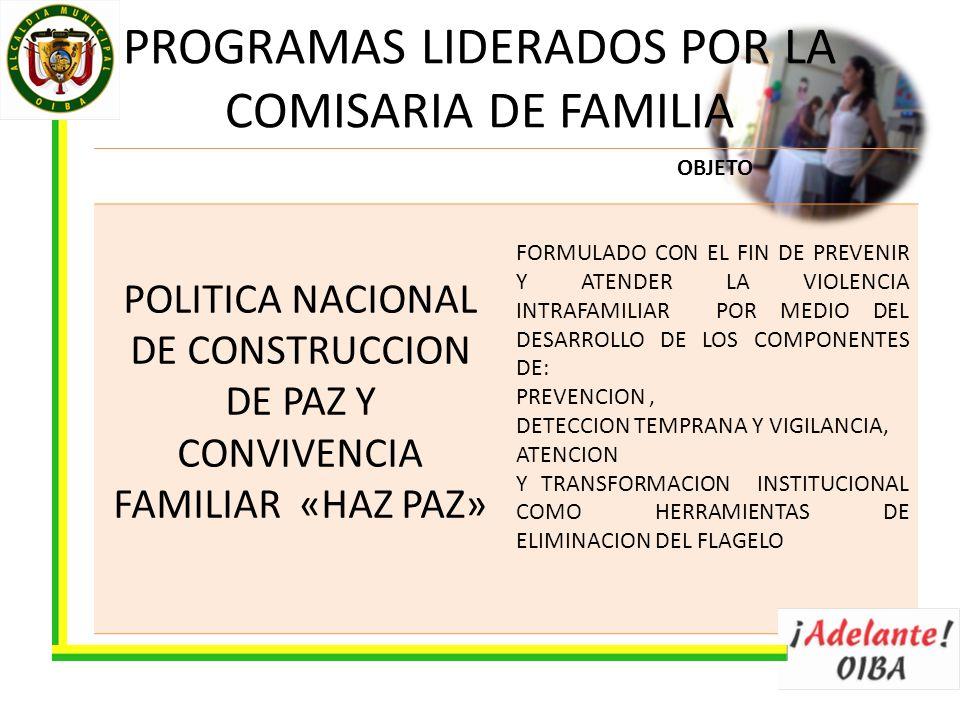 OBJETO POLITICA NACIONAL DE CONSTRUCCION DE PAZ Y CONVIVENCIA FAMILIAR «HAZ PAZ» FORMULADO CON EL FIN DE PREVENIR Y ATENDER LA VIOLENCIA INTRAFAMILIAR POR MEDIO DEL DESARROLLO DE LOS COMPONENTES DE: PREVENCION, DETECCION TEMPRANA Y VIGILANCIA, ATENCION Y TRANSFORMACION INSTITUCIONAL COMO HERRAMIENTAS DE ELIMINACION DEL FLAGELO PROGRAMAS LIDERADOS POR LA COMISARIA DE FAMILIA
