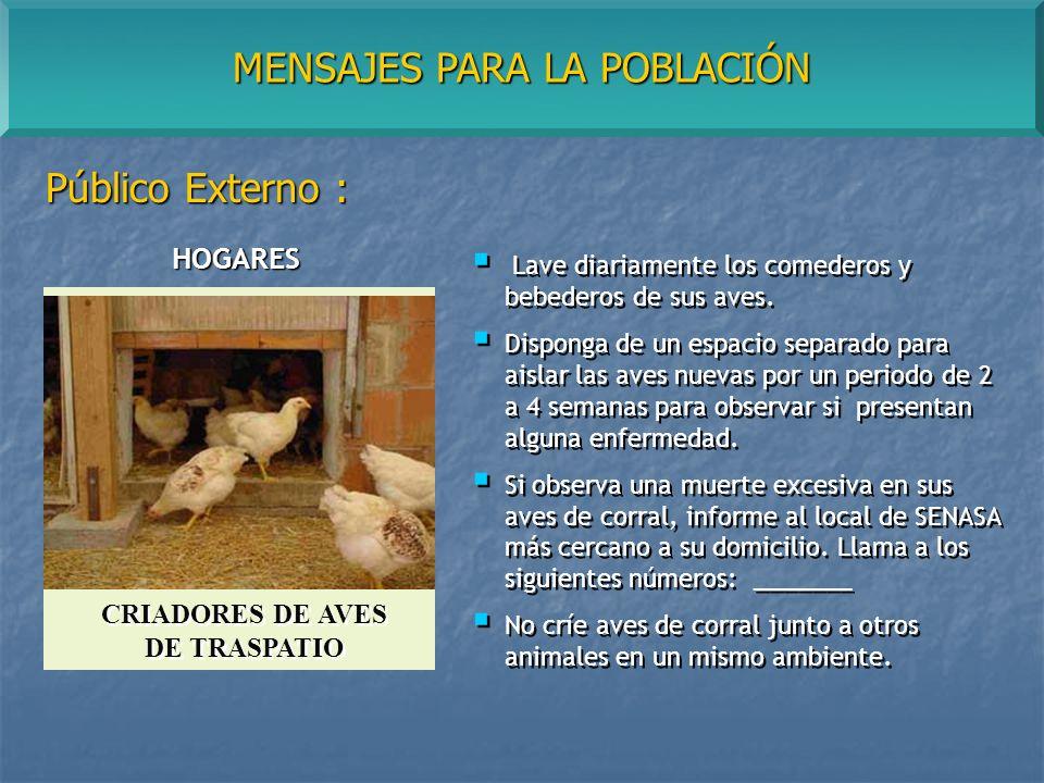 MENSAJES PARA LA POBLACIÓN Público Externo : Lave diariamente los comederos y bebederos de sus aves.