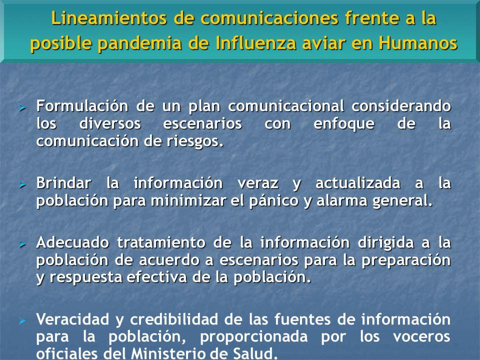 Formulación de un plan comunicacional considerando los diversos escenarios con enfoque de la comunicación de riesgos.