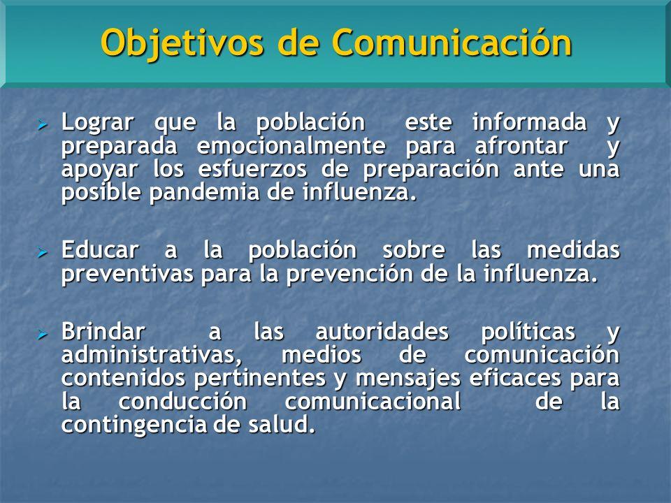 Objetivos de Comunicación Lograr que la población este informada y preparada emocionalmente para afrontar y apoyar los esfuerzos de preparación ante una posible pandemia de influenza.