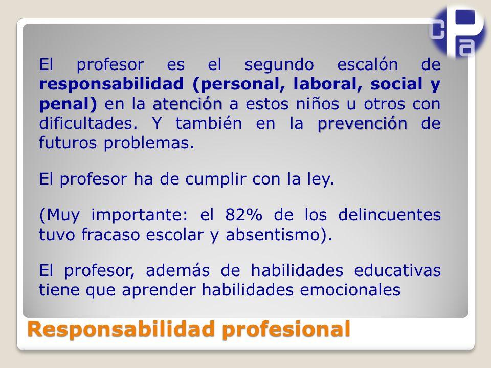Responsabilidad profesional atención prevención El profesor es el segundo escalón de responsabilidad (personal, laboral, social y penal) en la atención a estos niños u otros con dificultades.