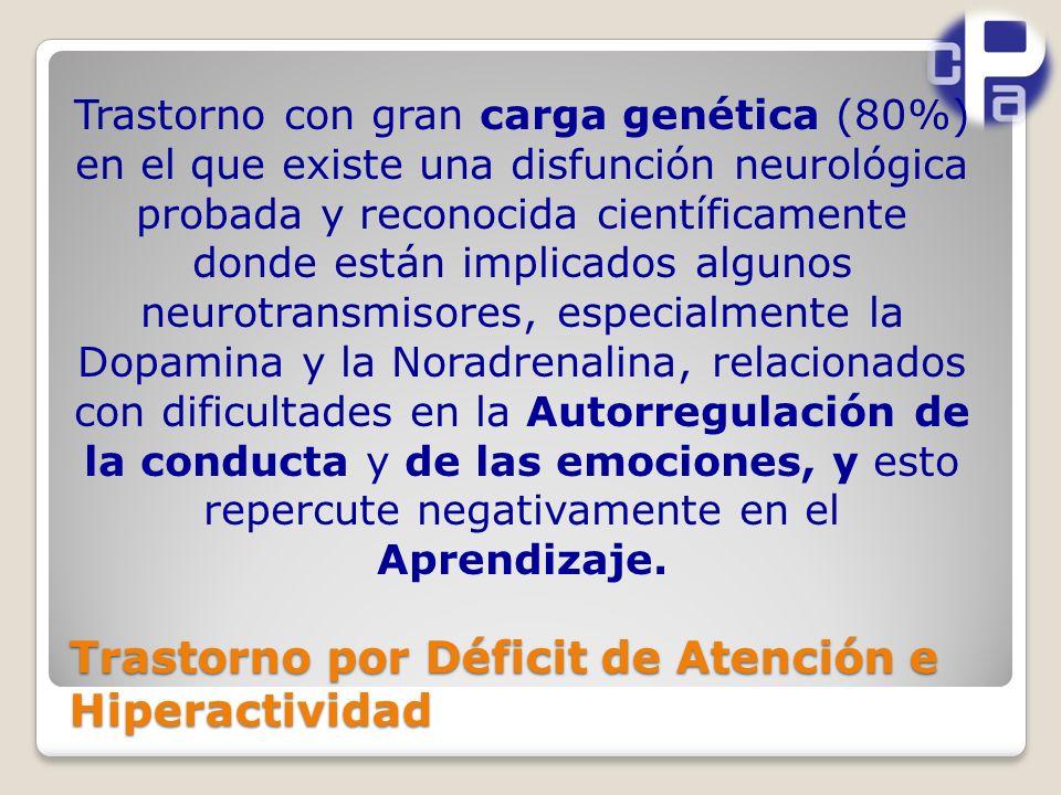 Trastorno con gran carga genética (80%) en el que existe una disfunción neurológica probada y reconocida científicamente donde están implicados algunos neurotransmisores, especialmente la Dopamina y la Noradrenalina, relacionados con dificultades en la Autorregulación de la conducta y de las emociones, y esto repercute negativamente en el Aprendizaje.