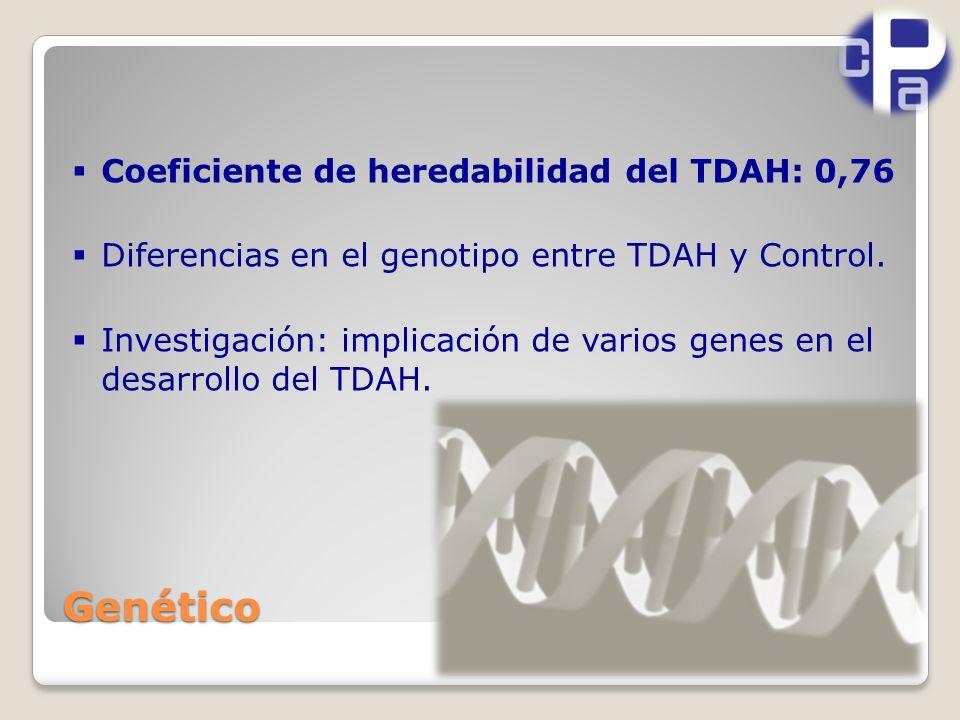 Genético Coeficiente de heredabilidad del TDAH: 0,76 Diferencias en el genotipo entre TDAH y Control.