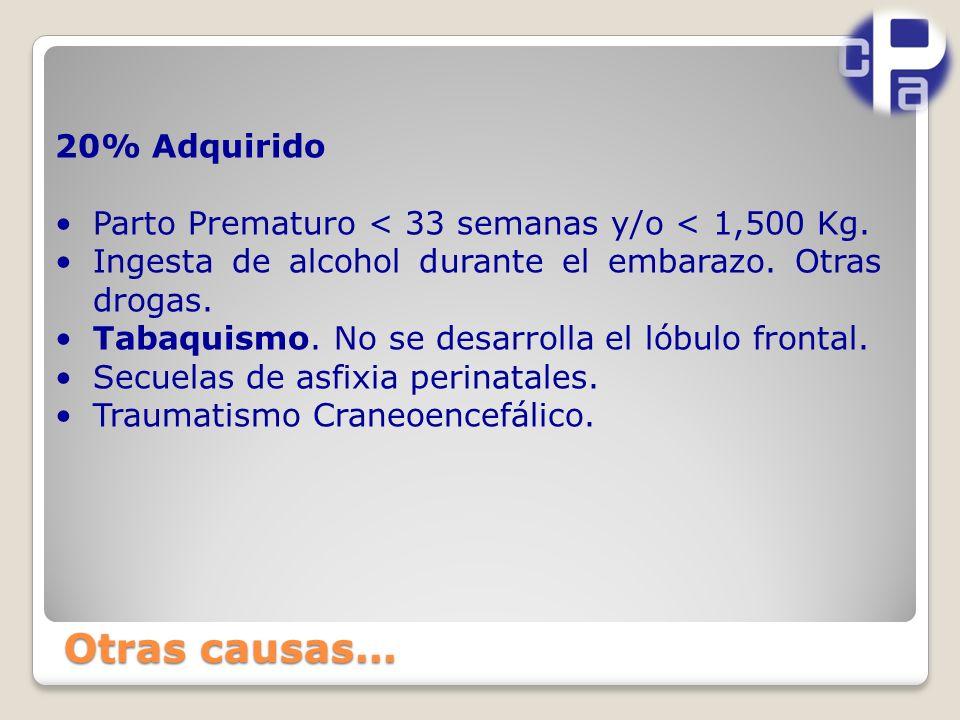 20% Adquirido Parto Prematuro < 33 semanas y/o < 1,500 Kg.
