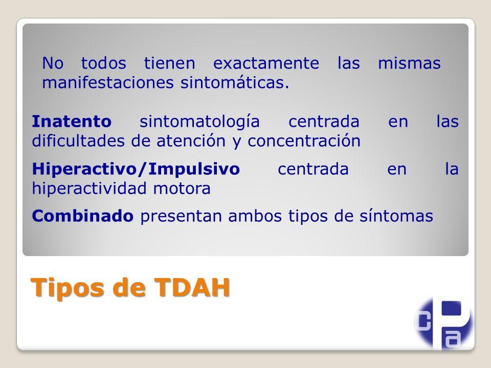Tipos de TDAH Inatento sintomatología centrada en las dificultades de atención y concentración Hiperactivo/Impulsivo centrada en la hiperactividad motora Combinado presentan ambos tipos de síntomas No todos tienen exactamente las mismas manifestaciones sintomáticas.