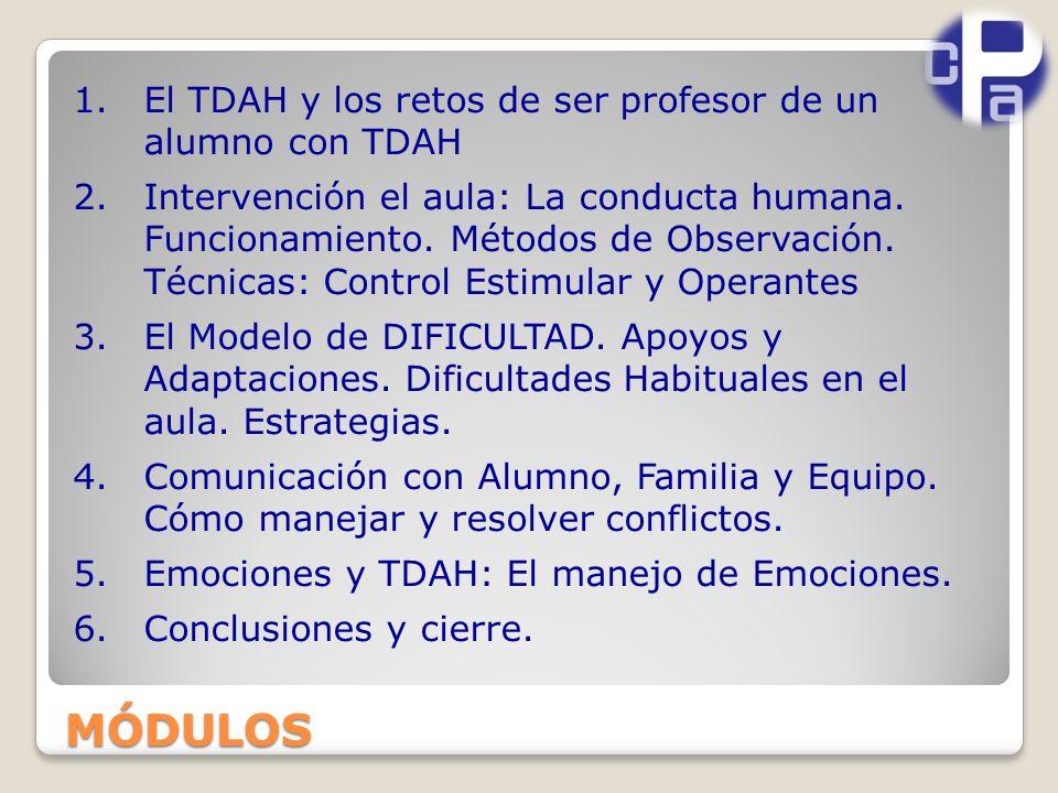1.El TDAH y los retos de ser profesor de un alumno con TDAH 2.Intervención el aula: La conducta humana.