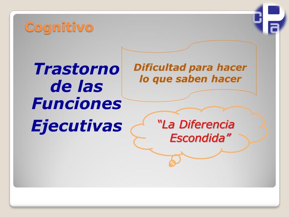 Cognitivo Trastorno de las Funciones Ejecutivas Dificultad para hacer lo que saben hacer La Diferencia Escondida