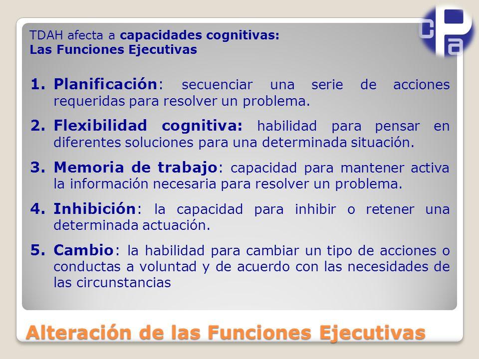 Alteración de las Funciones Ejecutivas 1.Planificación: secuenciar una serie de acciones requeridas para resolver un problema.
