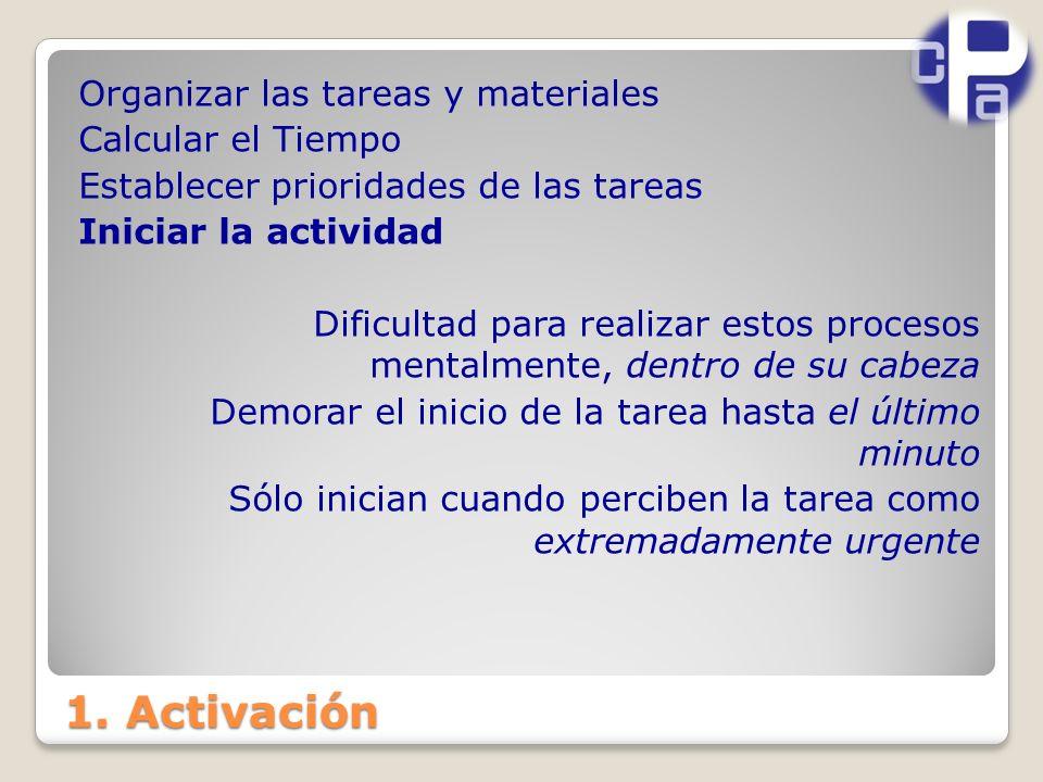 1. Activación Organizar las tareas y materiales Calcular el Tiempo Establecer prioridades de las tareas Iniciar la actividad Dificultad para realizar