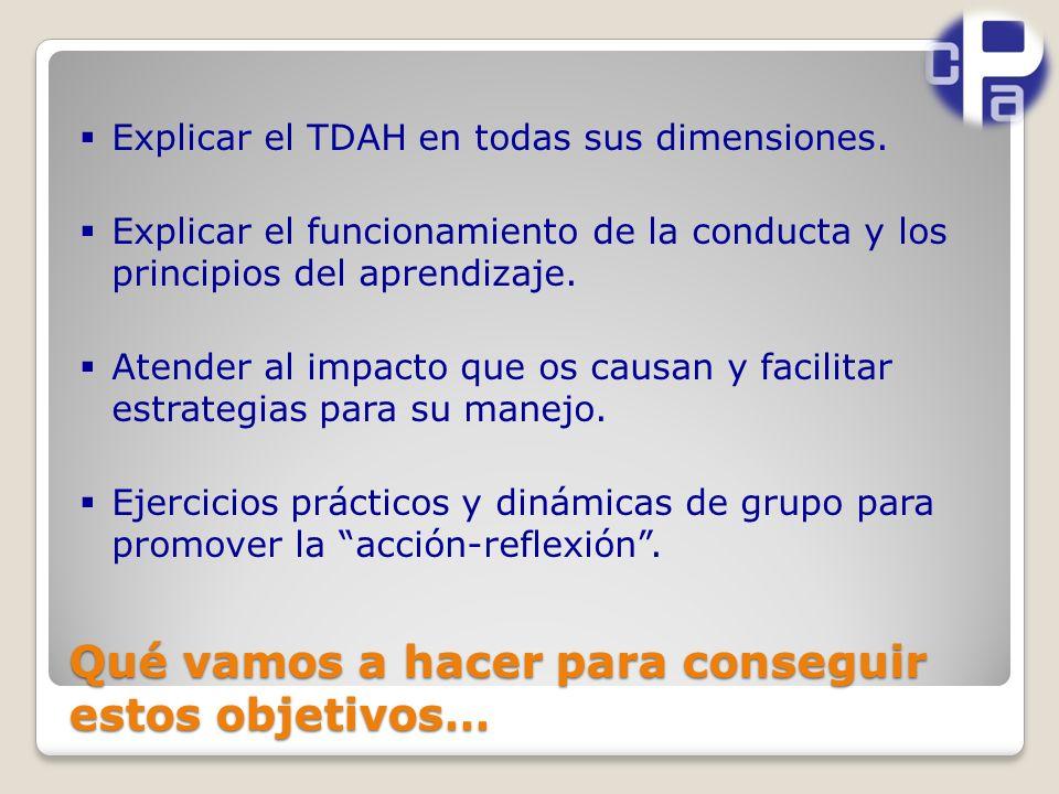 Qué vamos a hacer para conseguir estos objetivos… Explicar el TDAH en todas sus dimensiones.