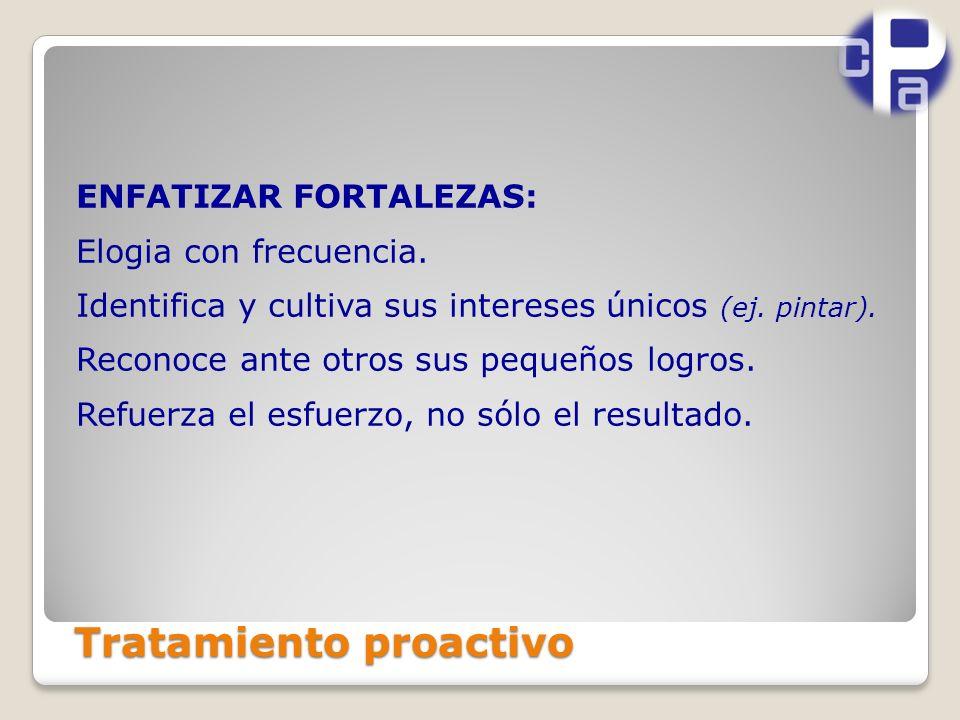 Tratamiento proactivo ENFATIZAR FORTALEZAS: Elogia con frecuencia.