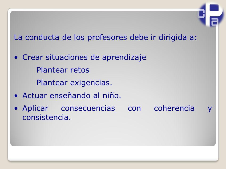 La conducta de los profesores debe ir dirigida a: Crear situaciones de aprendizaje Plantear retos Plantear exigencias.