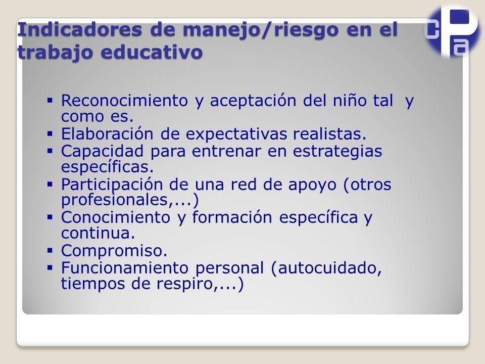 Indicadores de manejo/riesgo en el trabajo educativo Reconocimiento y aceptación del niño tal y como es.