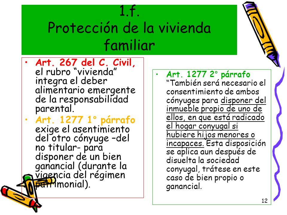 12 1.f. Protección de la vivienda familiar Art. 267 del C. Civil, el rubro vivienda integra el deber alimentario emergente de la responsabilidad paren