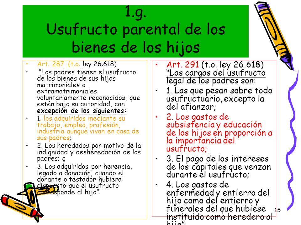 15 1.g. Usufructo parental de los bienes de los hijos Art. 287 (t.o. ley 26.618) Los padres tienen el usufructo de los bienes de sus hijos matrimonial