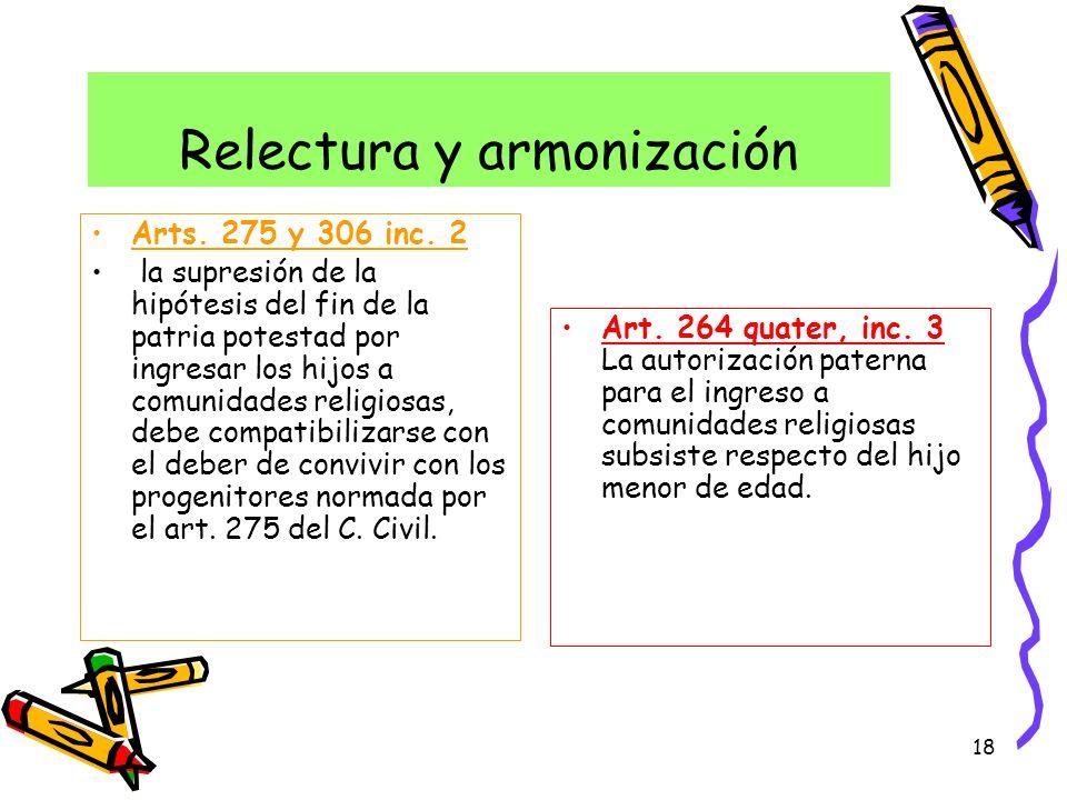 18 Relectura y armonización Arts. 275 y 306 inc. 2 la supresión de la hipótesis del fin de la patria potestad por ingresar los hijos a comunidades rel