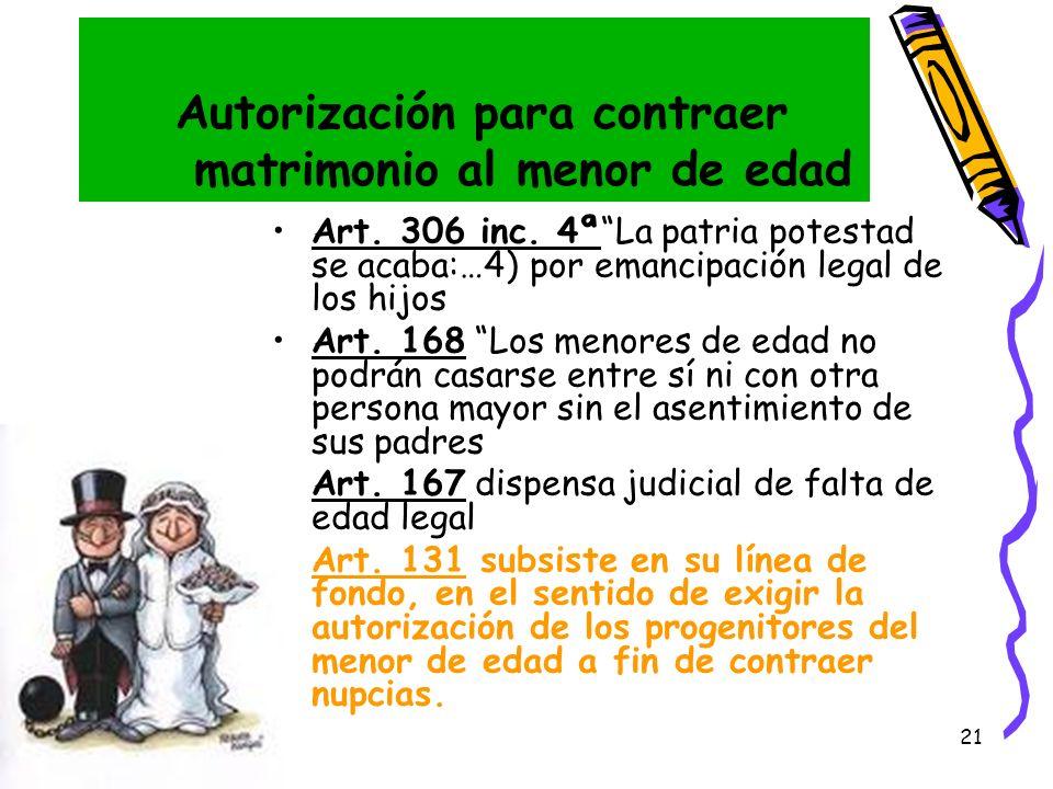 21 Autorización para contraer matrimonio al menor de edad Art. 306 inc. 4ªLa patria potestad se acaba:…4) por emancipación legal de los hijos Art. 168