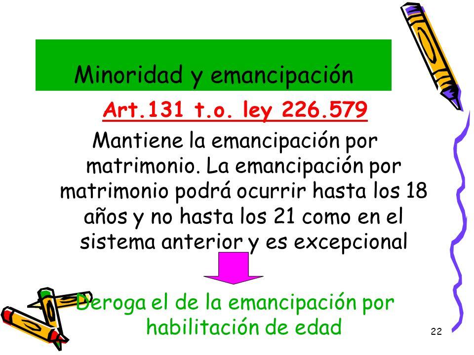 22 Minoridad y emancipación Art.131 t.o. ley 226.579 Mantiene la emancipación por matrimonio. La emancipación por matrimonio podrá ocurrir hasta los 1