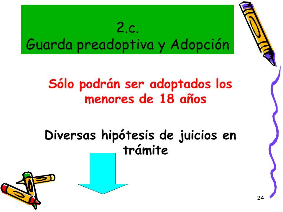 24 2.c. Guarda preadoptiva y Adopción Sólo podrán ser adoptados los menores de 18 años Diversas hipótesis de juicios en trámite