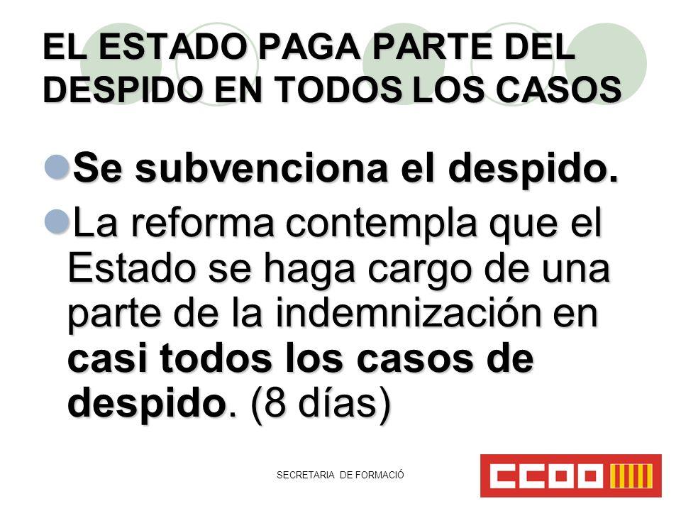 SECRETARIA DE FORMACIÓ EL ESTADO PAGA PARTE DEL DESPIDO EN TODOS LOS CASOS Se subvenciona el despido.