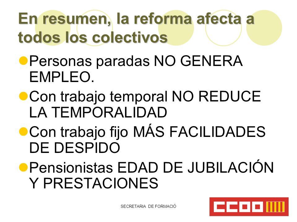 SECRETARIA DE FORMACIÓ En resumen, la reforma afecta a todos los colectivos Personas paradas NO GENERA EMPLEO.