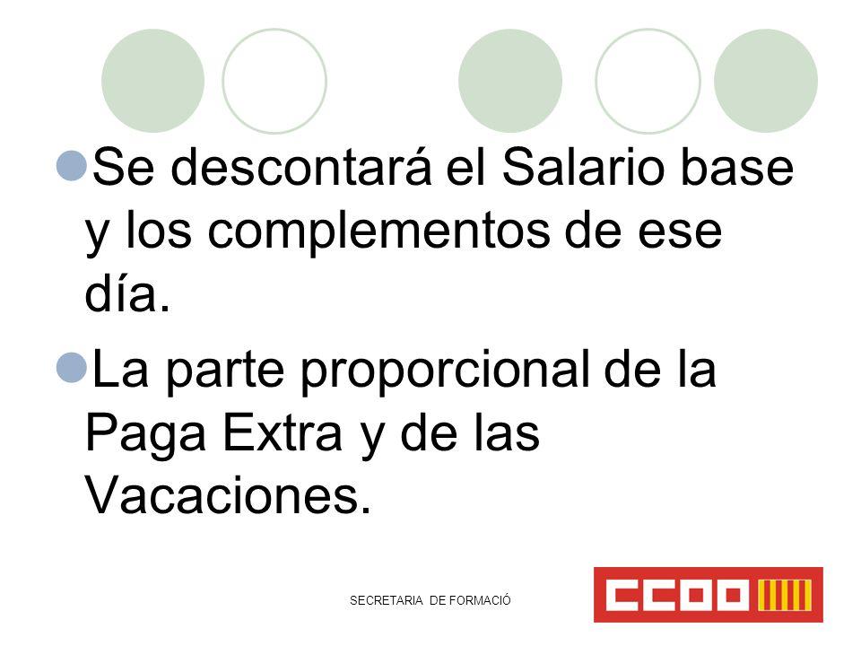 SECRETARIA DE FORMACIÓ Se descontará el Salario base y los complementos de ese día.