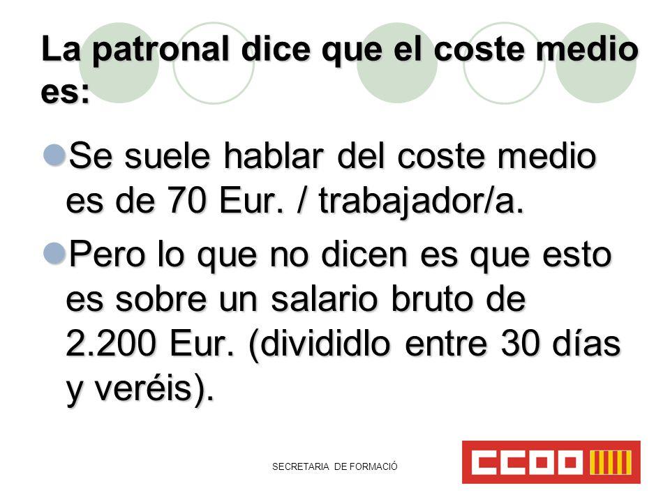 SECRETARIA DE FORMACIÓ La patronal dice que el coste medio es: Se suele hablar del coste medio es de 70 Eur.