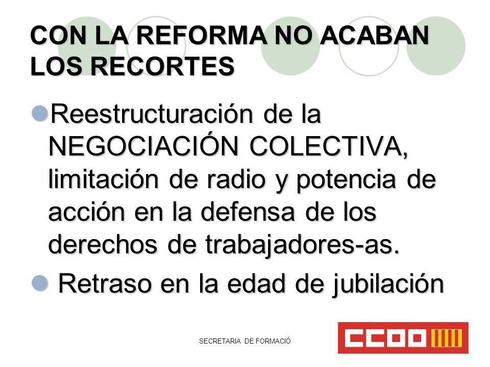 SECRETARIA DE FORMACIÓ CON LA REFORMA NO ACABAN LOS RECORTES Reestructuración de la NEGOCIACIÓN COLECTIVA, limitación de radio y potencia de acción en la defensa de los derechos de trabajadores-as.