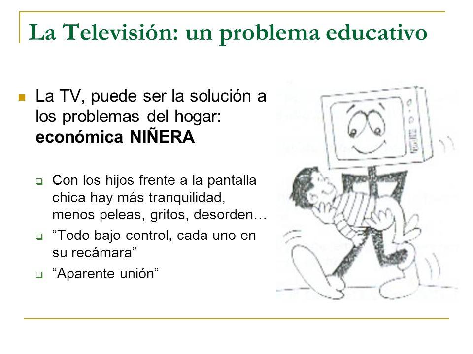 La Televisión: un problema educativo La TV, puede ser la solución a los problemas del hogar: económica NIÑERA Con los hijos frente a la pantalla chica