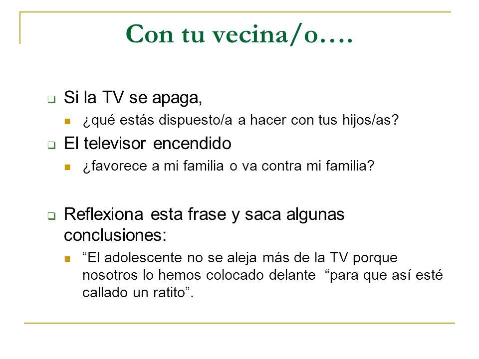 Con tu vecina/o…. Si la TV se apaga, ¿qué estás dispuesto/a a hacer con tus hijos/as? El televisor encendido ¿favorece a mi familia o va contra mi fam
