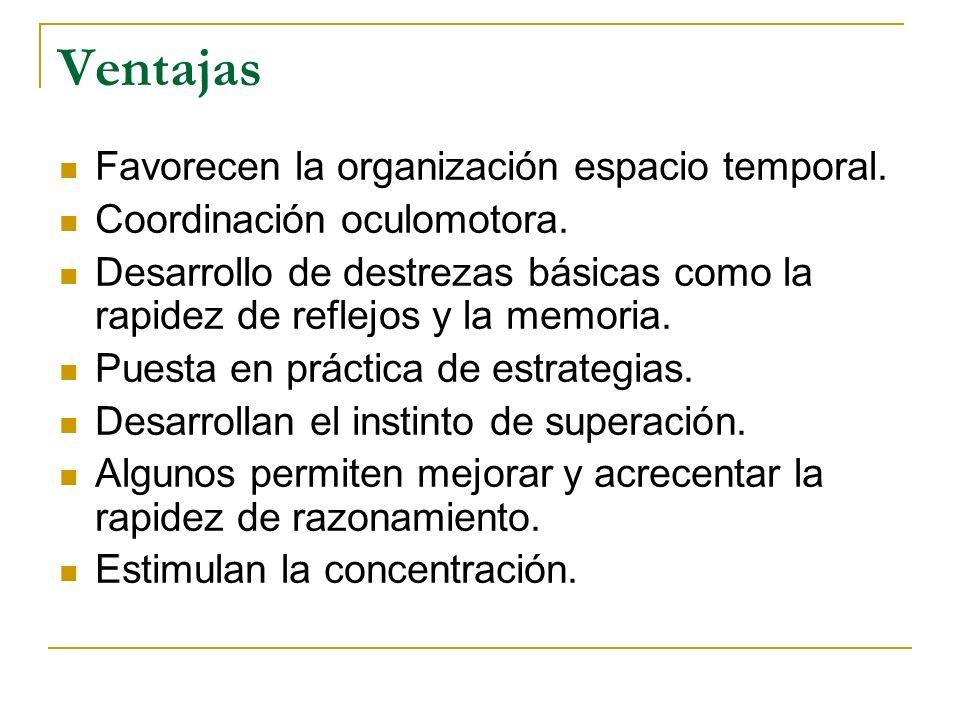 Ventajas Favorecen la organización espacio temporal. Coordinación oculomotora. Desarrollo de destrezas básicas como la rapidez de reflejos y la memori