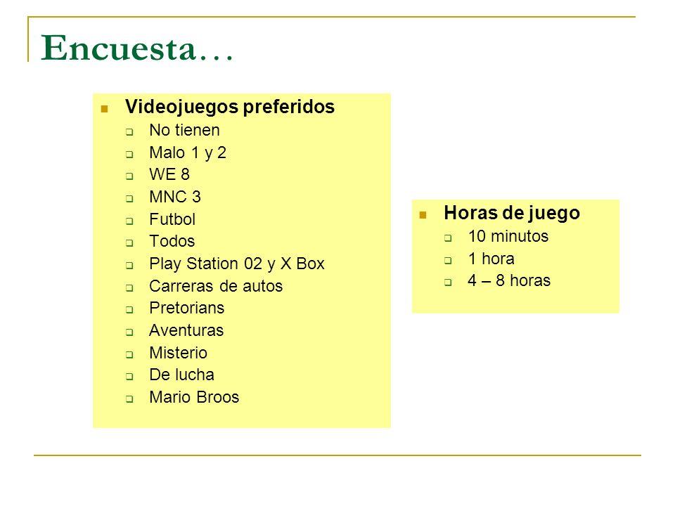 Encuesta… Videojuegos preferidos No tienen Malo 1 y 2 WE 8 MNC 3 Futbol Todos Play Station 02 y X Box Carreras de autos Pretorians Aventuras Misterio