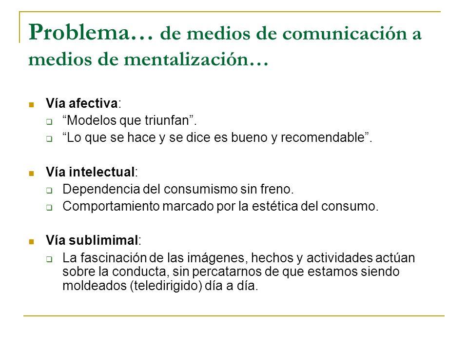 Problema… de medios de comunicación a medios de mentalización… Vía afectiva: Modelos que triunfan. Lo que se hace y se dice es bueno y recomendable. V