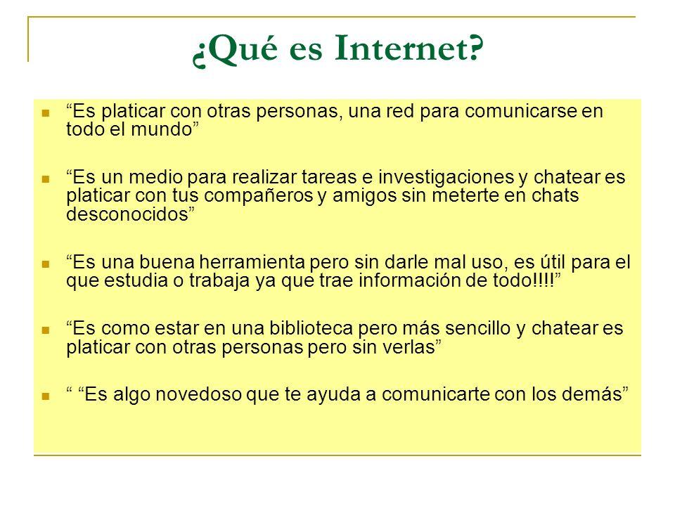 ¿Qué es Internet? Es platicar con otras personas, una red para comunicarse en todo el mundo Es un medio para realizar tareas e investigaciones y chate