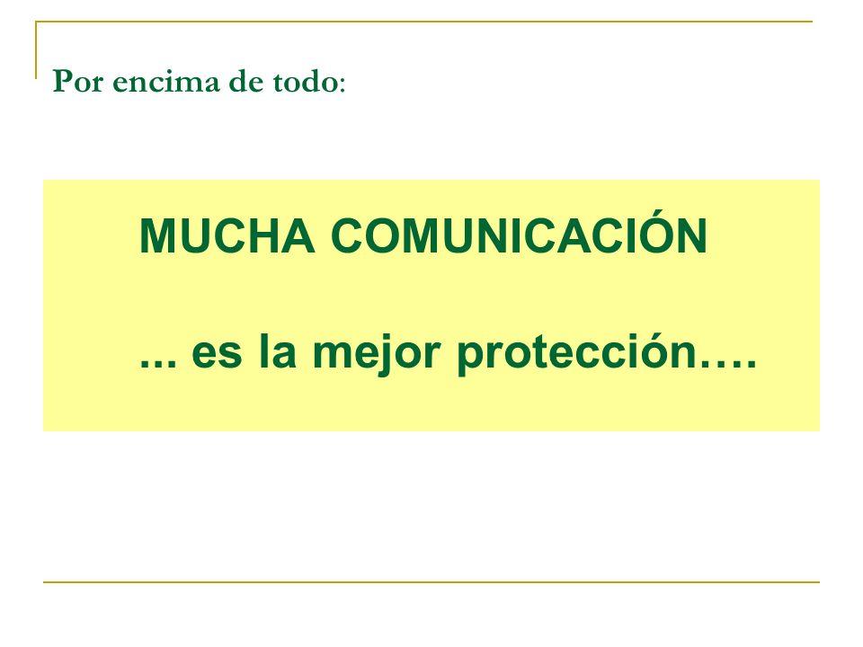 Por encima de todo: MUCHA COMUNICACIÓN... es la mejor protección….
