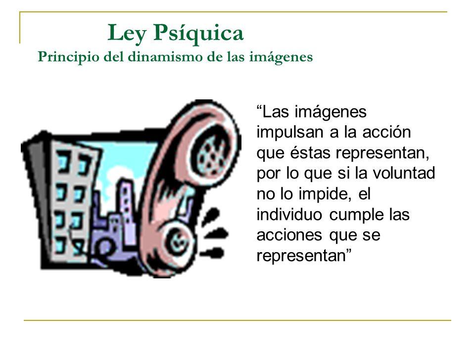 Ley Psíquica Principio del dinamismo de las imágenes Las imágenes impulsan a la acción que éstas representan, por lo que si la voluntad no lo impide,