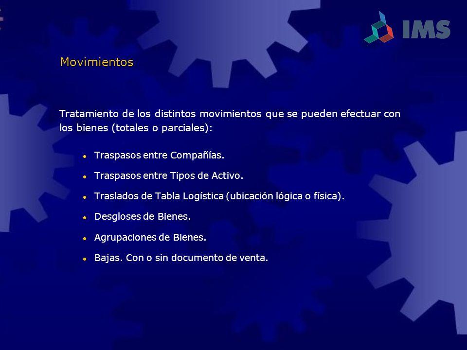 Tratamiento de los distintos movimientos que se pueden efectuar con los bienes (totales o parciales): Traspasos entre Compañías. Traspasos entre Tipos
