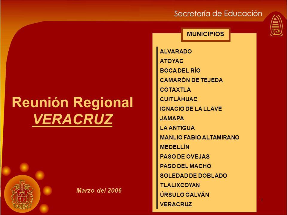 1 Reunión Regional VERACRUZ MUNICIPIOS Marzo del 2006 ALVARADO ATOYAC BOCA DEL RÍO CAMARÓN DE TEJEDA COTAXTLA CUITLÁHUAC IGNACIO DE LA LLAVE JAMAPA LA ANTIGUA MANLIO FABIO ALTAMIRANO MEDELLÍN PASO DE OVEJAS PASO DEL MACHO SOLEDAD DE DOBLADO TLALIXCOYAN ÚRSULO GALVÁN VERACRUZ