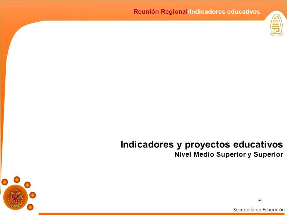 41 Indicadores y proyectos educativos Nivel Medio Superior y Superior Reunión Regional/Indicadores educativos