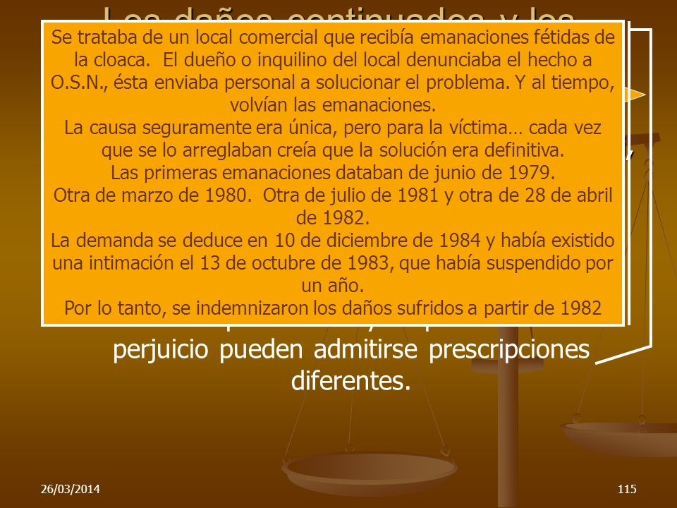 26/03/2014115 Los daños continuados y los sucesivos C.Nac.Civ., sala F, agosto 20-1987 Canciani, Héctor c/Obras Sanitarias de la Nación, L.L. To. 1988