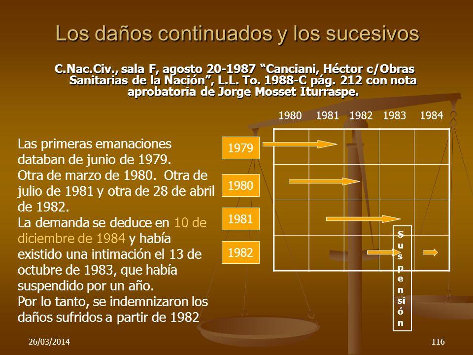 26/03/2014116 Los daños continuados y los sucesivos C.Nac.Civ., sala F, agosto 20-1987 Canciani, Héctor c/Obras Sanitarias de la Nación, L.L. To. 1988