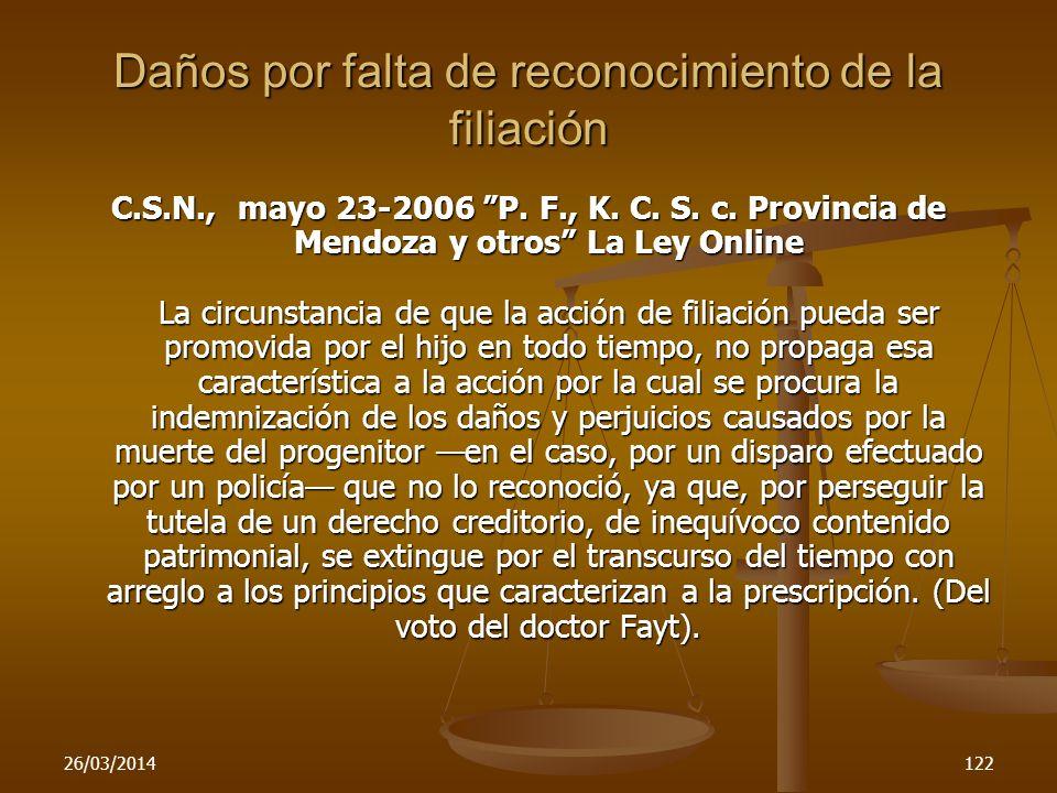 26/03/2014122 Daños por falta de reconocimiento de la filiación C.S.N., mayo 23-2006 P. F., K. C. S. c. Provincia de Mendoza y otros La Ley Online La