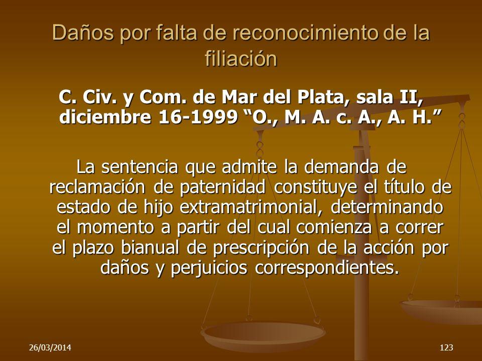 26/03/2014123 Daños por falta de reconocimiento de la filiación C. Civ. y Com. de Mar del Plata, sala II, diciembre 16-1999 O., M. A. c. A., A. H. La