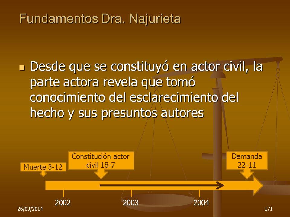 Fundamentos Dra. Najurieta Desde que se constituyó en actor civil, la parte actora revela que tomó conocimiento del esclarecimiento del hecho y sus pr